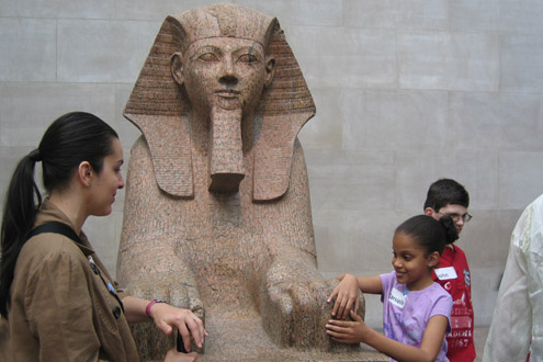 A student taking an In Touch with Ancient Egypt tour at the Metropolitan Museum of Art.